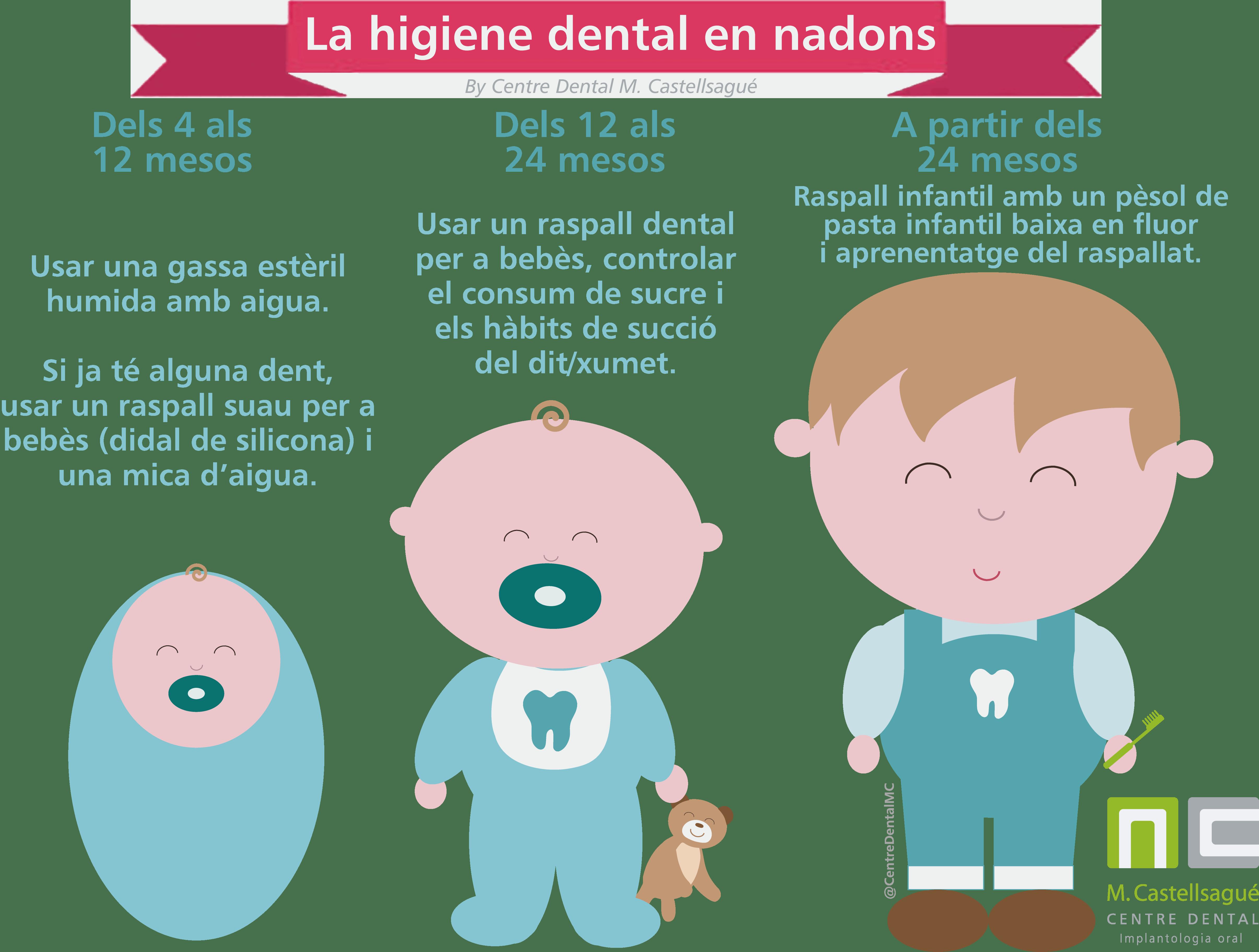 infografia higiene dental infantil centre dental castellsagué granollers