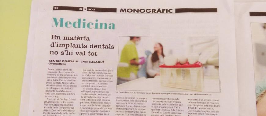 Medicina Qualitat Implants dentals clínica dental granollers El 9 nou Vallès Oriental 11 abril 2016