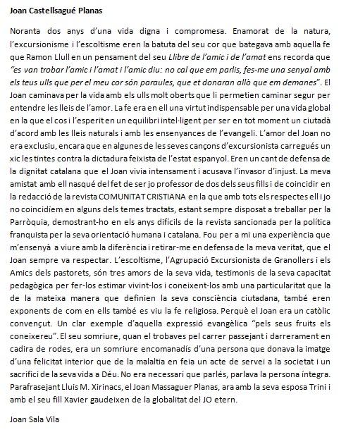 Joan Sala Vila a Joan Castellsagué