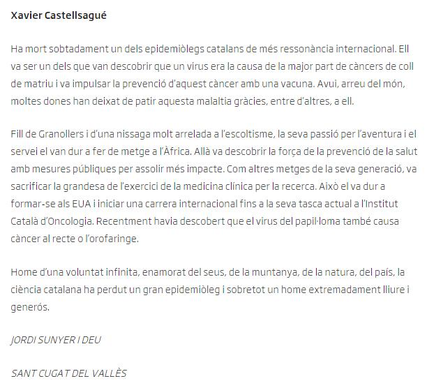 Jordi Sunyer ARA a Xavier Castellsagué Piqué