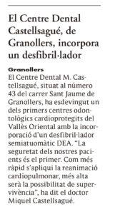 EL 9 NOU SOBRE EL DESFIBRILADOR centre dental castellsague petit